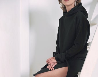 Black dress Oversized dress Women's dress Black hoodie Women's hoodie Dress with hood Winter dress Midi dress Warm dress Long sleeve