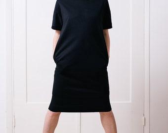 T shirt dress Women's dress T dress T-shirt dress Women's tunic Black dress Stretch dress Oversized dress Winter dress Warm dress LBD