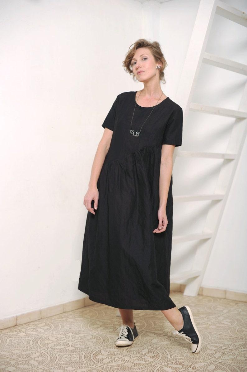 2fabe5ab4ab Womens dress Women s black dress Black linen dress Linen