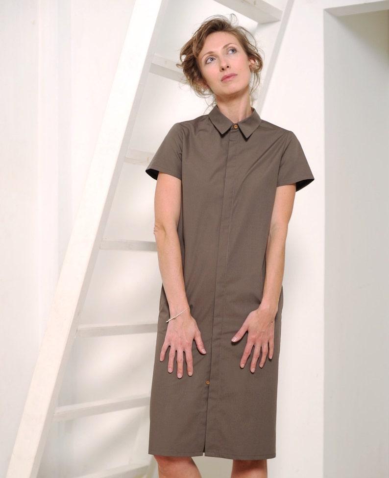 0bca94b264c893 Shirt-Kleid Damen Kleid Büro Kleid braun Kleid Knopf unten | Etsy