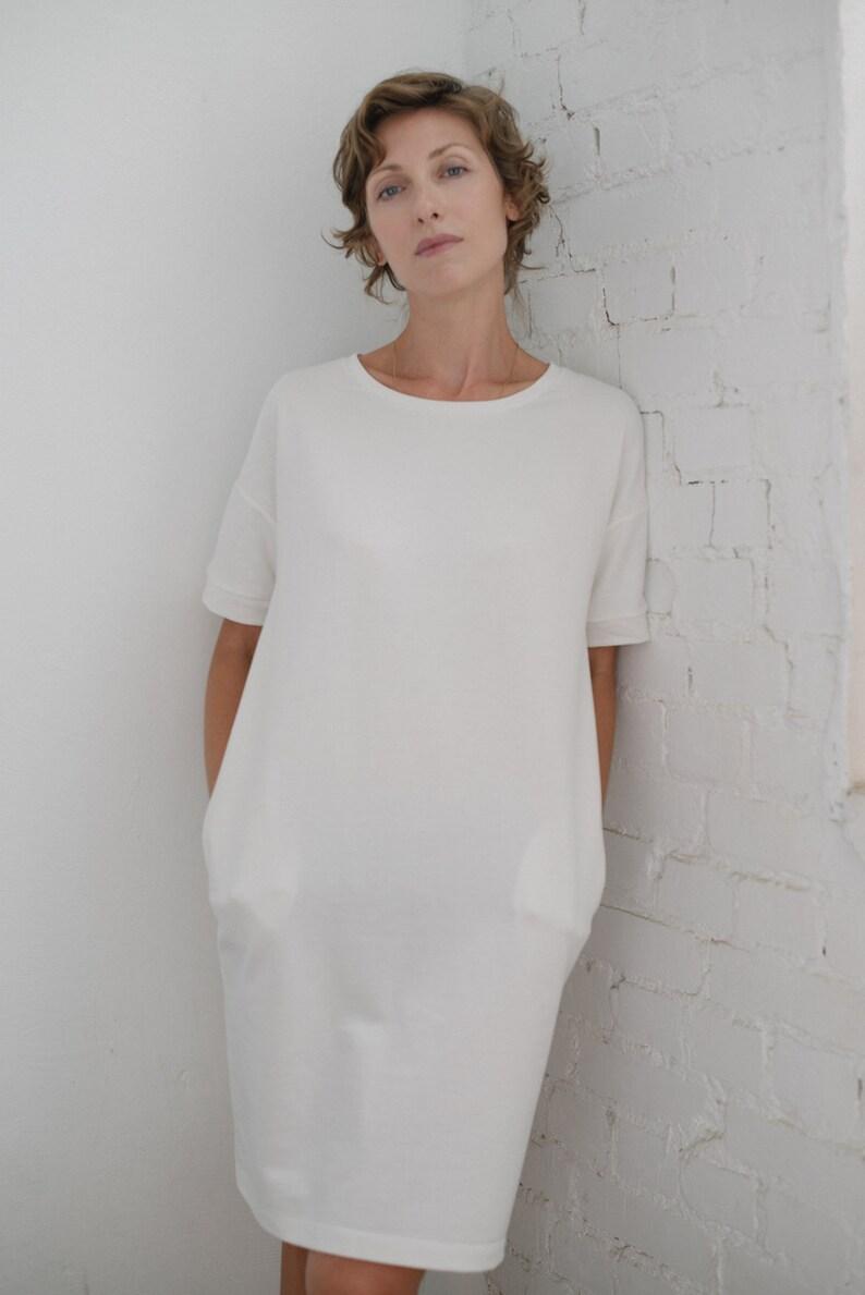 Baumwolle Tunika Oversized Shirt Frottee Übergroße Kleid T Frauen Weißes Damen cFK1lJ
