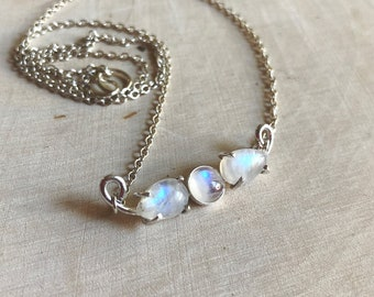 Rainbow Moonstone Choker Necklace / Moonstone Triplet Necklace / Sterling Silver necklace / Everyday Jewelry