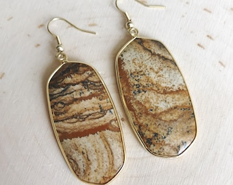 Picture Jasper Drop Earrings // Brown Oval Earrings // Tan Dangle Earrings // Gold Earrings