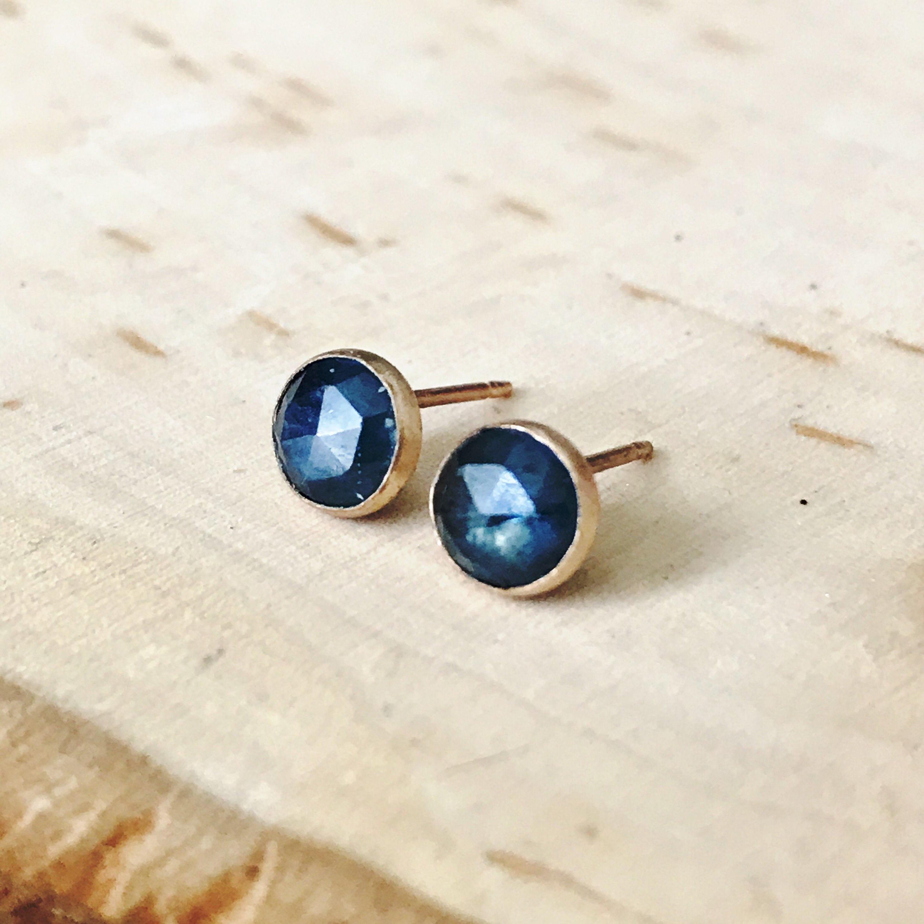 rose cut blue sapphire stud earrings 4mm 6mm sapphire. Black Bedroom Furniture Sets. Home Design Ideas