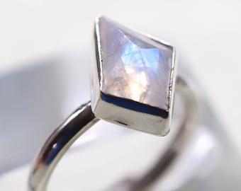 Rainbow Moonstone ring/ Raw moonstone stacking Ring