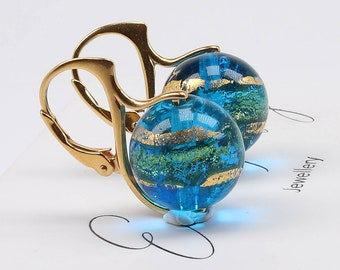Blue and Gold Murano glass lever back earrings / Banded Venetian Murano Glass Gold earrings