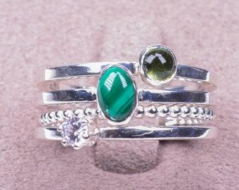 Malachite stacking ring, Peridot stacking ring, silver ring stack