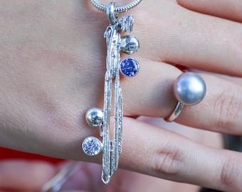 Tanzanite silver Pendant / Broom cast fine silver CZ statement pendant / Angel pendant