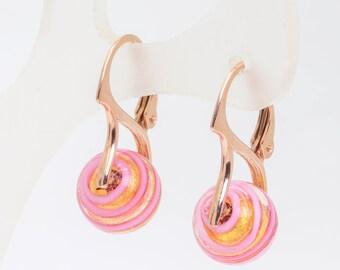 Pink Murano rose gold Vermeil earrings