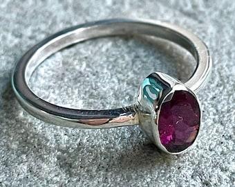 Garnet solitaire ring, Red Garnet stacking ring