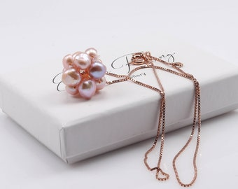 Pink Pearl rose gold necklace / Pink cluster pearl rose gold necklace / Pearl spinner necklace