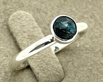 Kyanite stacking ring, droplet ring, Silver stackable ring