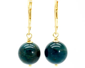 Apatie earrings, Blue Apatite gold earrings, Apatite dangle earrings, Gold drop earrings,Birthday Gift, Apatite gold earrings