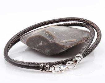 leather wrap bracelet, mens leather and silver bracelet