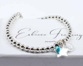 Silver Star bracelet with personalisation and birthstone crystal / Birthstone bracelet