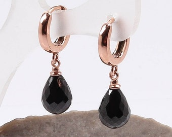 Onyx Rose gold CZ earrings / faceted black onyx huggie earrings / Rose gold huggie earrings