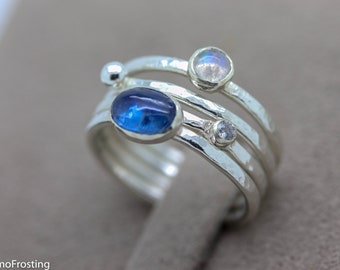 silver stacking ring Sapphire CZ ring, Gift for her gem stacker ring Gemstone stacking rings Blue Topaz CZ ring