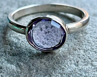 Amethyst stacking ring, silver stacking ring
