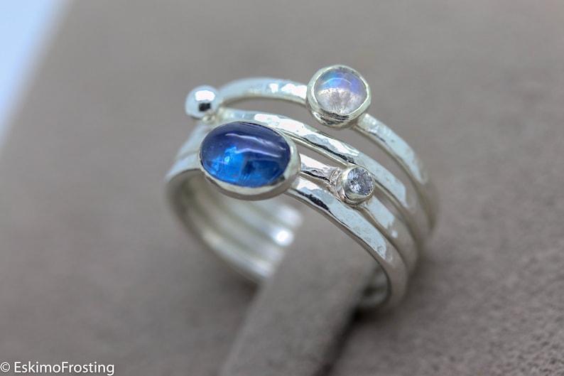 Rainbow moonstone ring Kyanite stacker ring silver stacking image 1