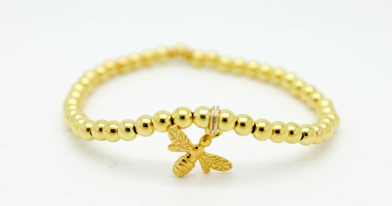 gold charm bracelet Gold bumble bee charm bracelet Gold ball bracelet Gold bee bracelet