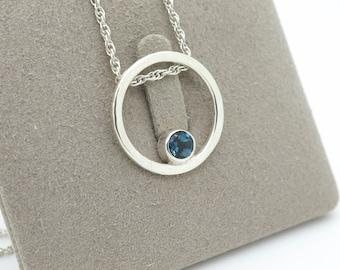 Silver circle pendant / London Blue Topaz circle pendant necklace