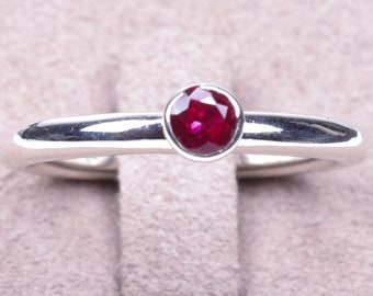 Ruby stacking ring, solitaire Ruby ring, Ruby engagement ring