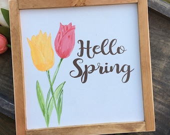 Hello Spring Sign, Spring Wood Sign, Hand Painted Spring Sign, Spring Decorations, Tulip Wood Sign