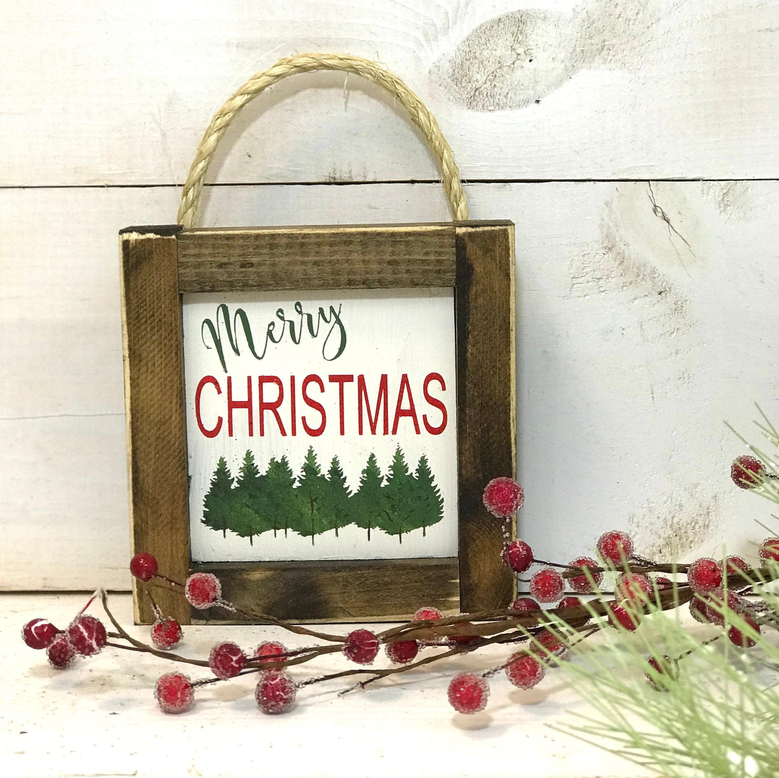 Frohe Weihnachten-Zeichen Mini-Weihnachten-Schild Bauernhaus   Etsy