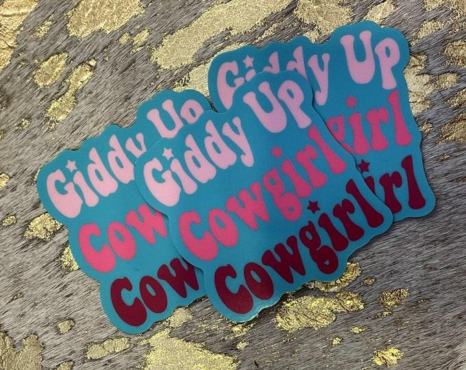 Giddy Up Cowgirl UV Sticker