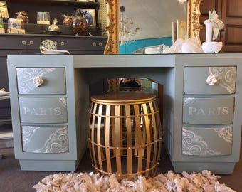 Gorgeous Shabby Chic XL Vintage Vanity Desk in Duck Egg Blue / Green & White French, Paris , Whimsical, Elegant, Victorian, w Glass top