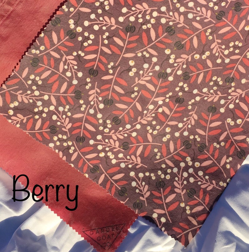 """2 pk Bees Wraps  beeswax food wraps only XS & L left Berry XS (9""""x6"""")"""