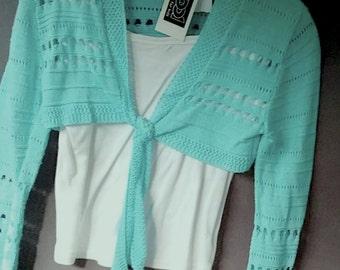 0923dddf43 Bolero, Kurz- Jacke, Strickjacke, türkis oder braun, mehr Größen,  Maßangabe, von Kool, Vintage