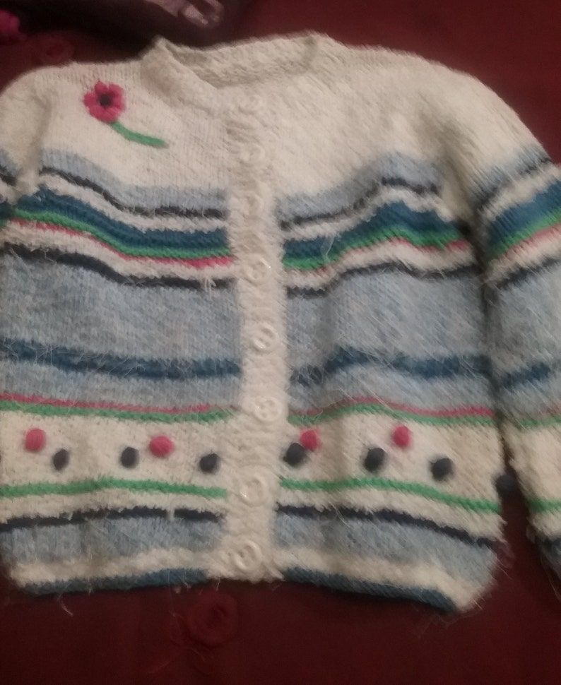 vintage format color white-blue-pink girl cotton with effect Cardigan one size custom handmade clunky