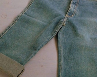Refashion, new jeans by Bright, restyled to boot jeans, rolled up petrol touch, seam curry, gr.S/25/32, measurement, vintage