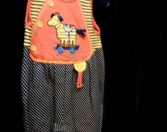 Baby Jumpsuit One-Piece Romper Bodysuit Horse Orange Black Dots Size Vintage