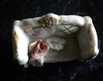 Figurine Miniature Porcelain sofa white-gold-pink rose Vintage
