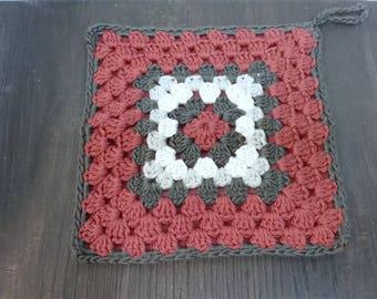 Crochet pot holders pot holder Granny Squares uniques timeless pure cotton gift - item 19 x 19 cm 2-ply