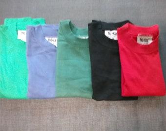 T-Shirt, Langarm, Langarmshirt, uni, grün+blau+altrosa+schwarz+pink+dunkelgrün+rot, BASIC, Männer, Frauen, Kinder, unisex, Vintage
