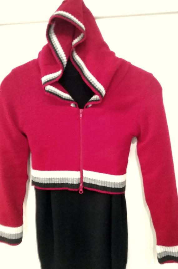 Kapuzenjacke, Hoodie, Bolero, kurze Strickjacke, rot oder orange, Ränder gestreift, one Size, Maßangabe, Vintage