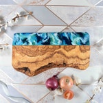 Cheese Board Rustic Olive Wood with Blue Green Resin 40cm