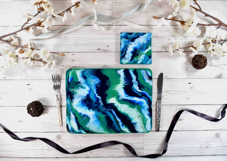 Blue Green Modern Placemats with Coastal Resin Art