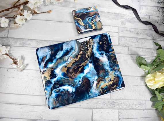 Blue, Gold and Bronze Resin Art Placemats Set in ANY SIZE