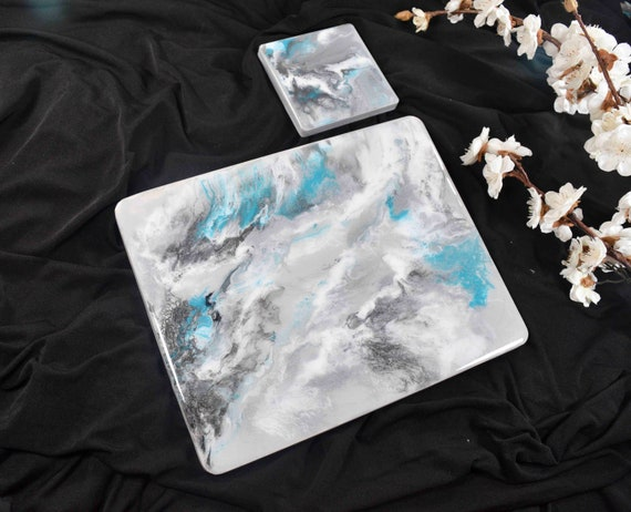 Silver Grey Placemats and Coasters for Dining Table in ANY SIZE - Resin Art with Turquoise Streak