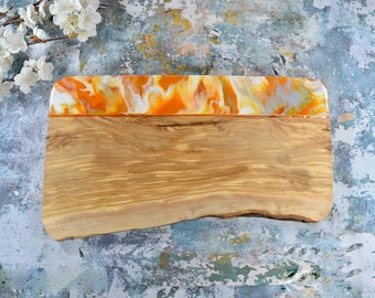 Large Olive Wood Board with Orange Resin Art 40cm | Christmas Cheese Board