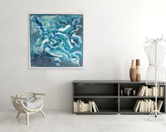 Original Framed Wall Art - Nature Inspired Resin Abstract Painting 85x85cm