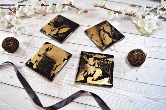 Black Gold Coasters for Drinks