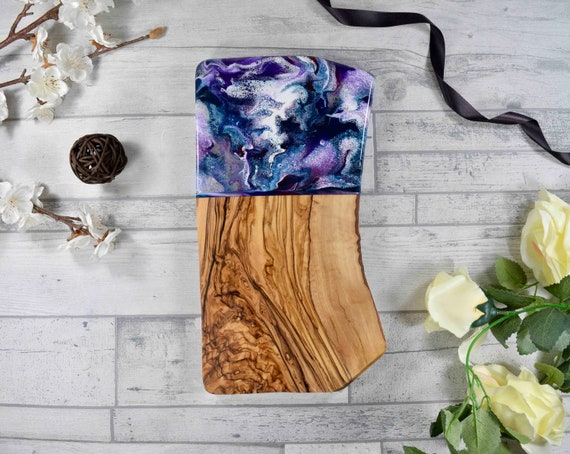 Cutting Board with Purple Resin Art 30cm | Rustic Olive Wood | 40th Birthday Gift Idea