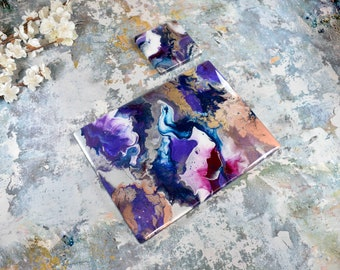 Set of 8 Metallic Placemats and Coasters - Purple Home Decor - Resin Art Table Mats - Dining Mats