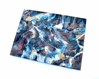 Abstract Wall Art Painting in Blue Bronze and Gold - MADE TO ORDER - Resin Art on Canvas