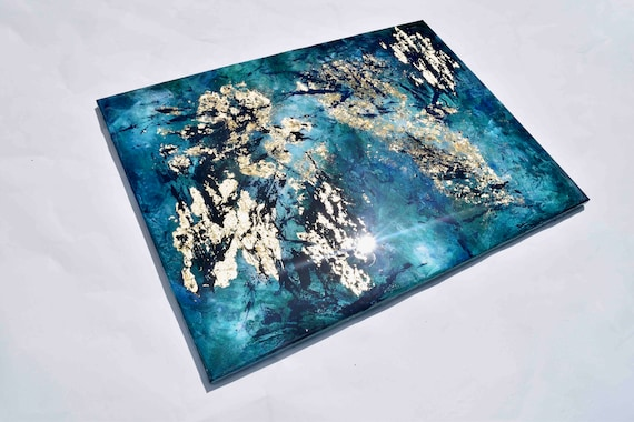 Abstract Painting Wall Art - Blue Green Gold Acrylic Painting with Resin Art 80x60 cm